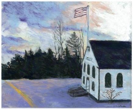 <p>Town Hall painting by Sarah Rhinelander, Westport Island</p>